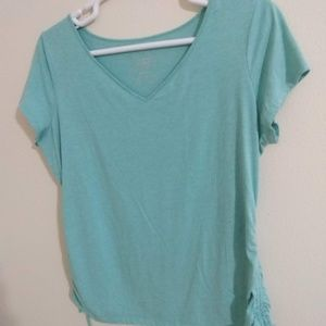 Light blue v-neck tee with ties on sides -size XXL